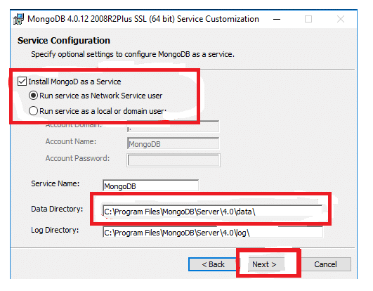 Service configuration MongoDB