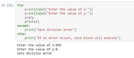 zero division error