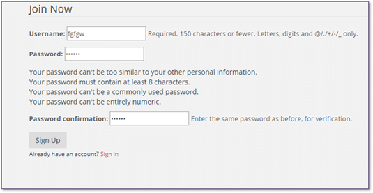 Django User Registration Form step 6