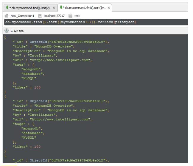 mongodb sort command - Intellipaat