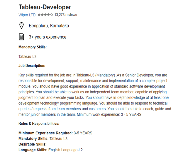 Tableau Developer Job Description for Wipro