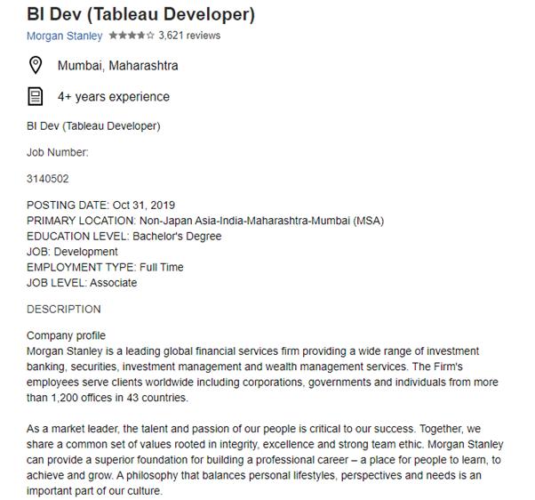 Tableau Job Description for Morgan Stanley