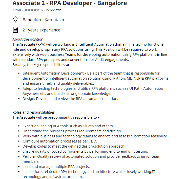 RPA Developer Job Bangalore
