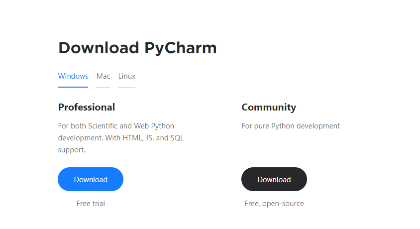 Versions of PyCharm