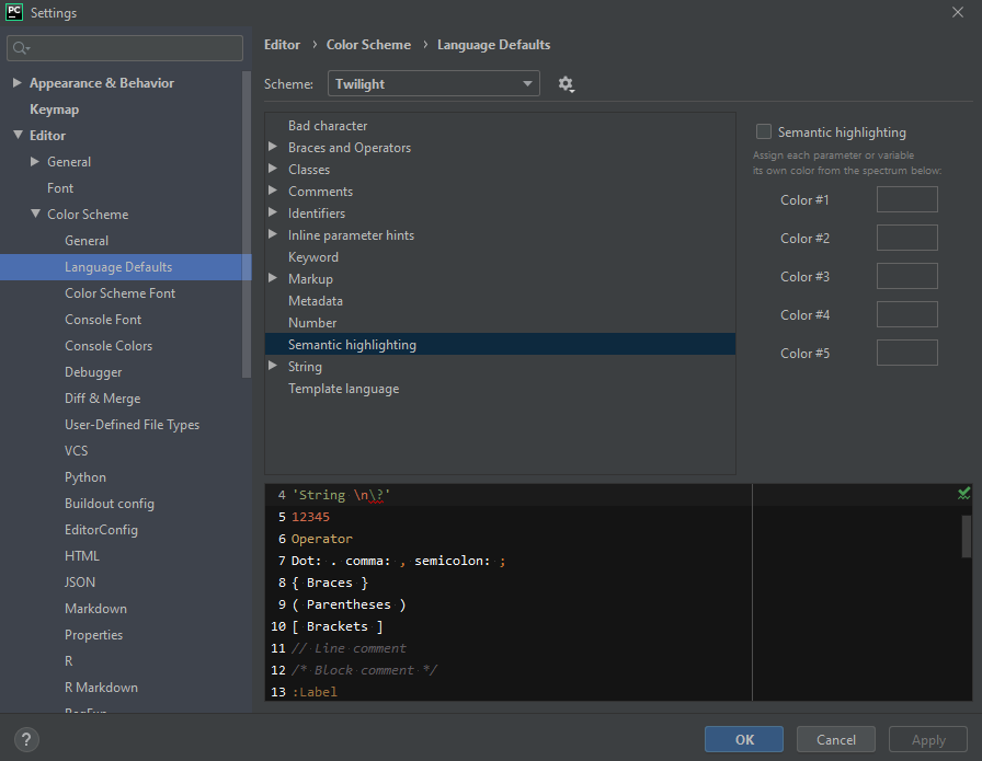 Configure pycharm-Semantic highlighting