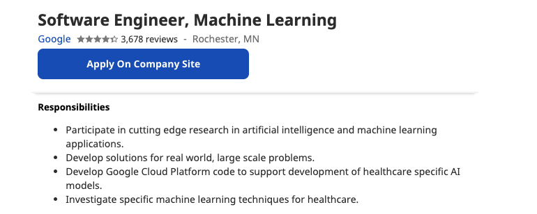 ML Job in the US