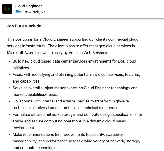 Cloud Engineer Job
