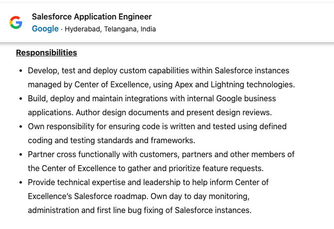 Salesforce Application Engineer Job