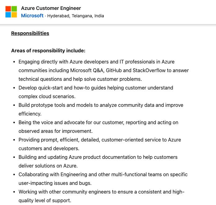 Azure Customer Engineer Job at Microsoft