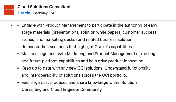 Cloud Solutions Consultant Job at Oracle