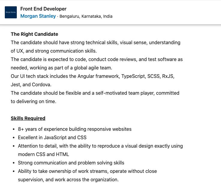 Front End Developer Job responsibilities at Morgan Stanley