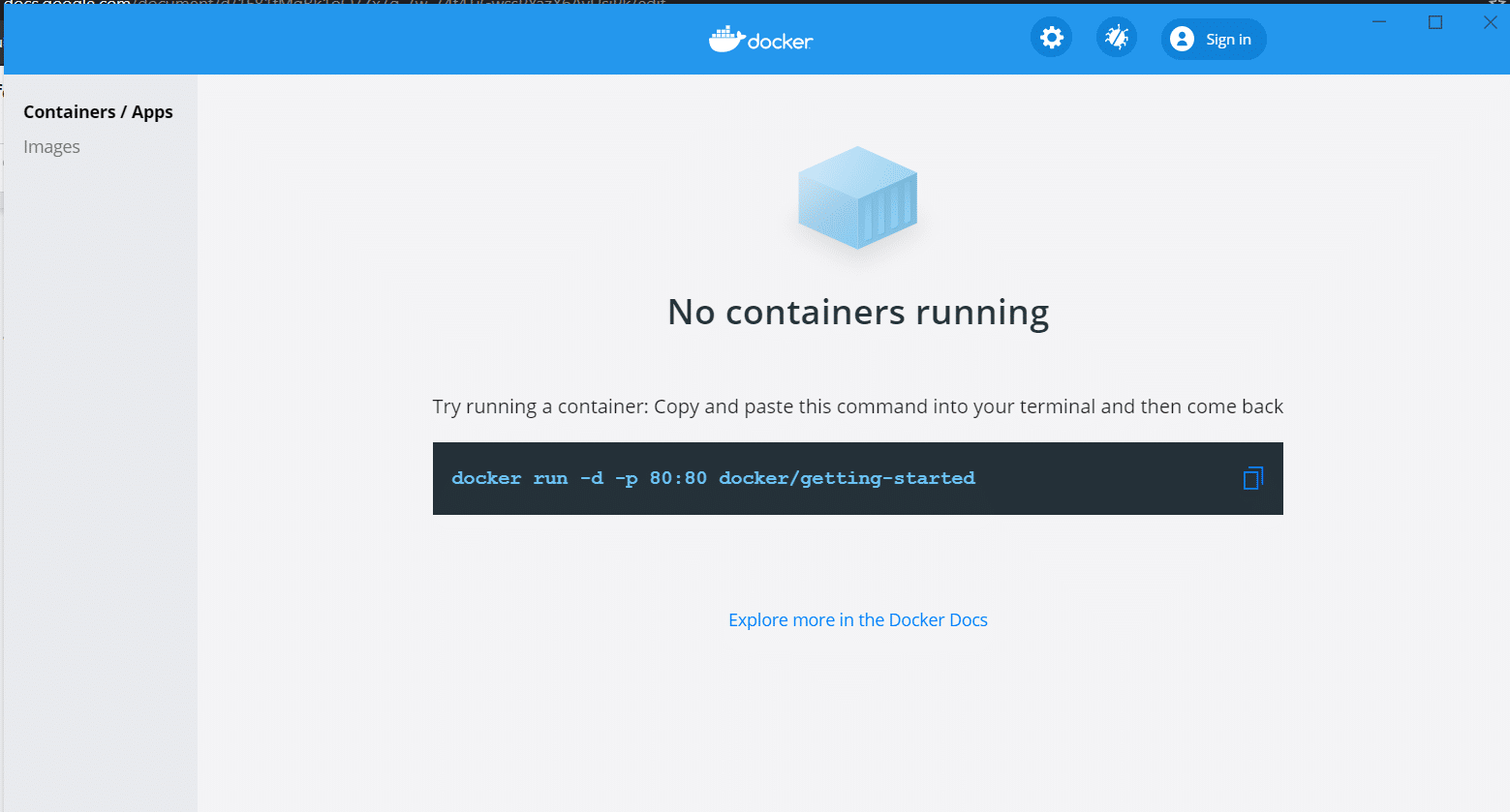 Installation of Docker containers for Windows