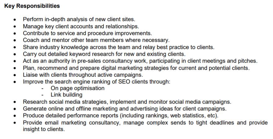 Digital Marketing Responsibilities
