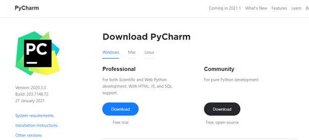 Download and install the PyCharm Community