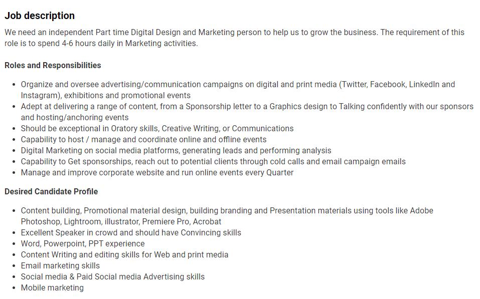 Entry Level Digital Marketing Consultant Job Description