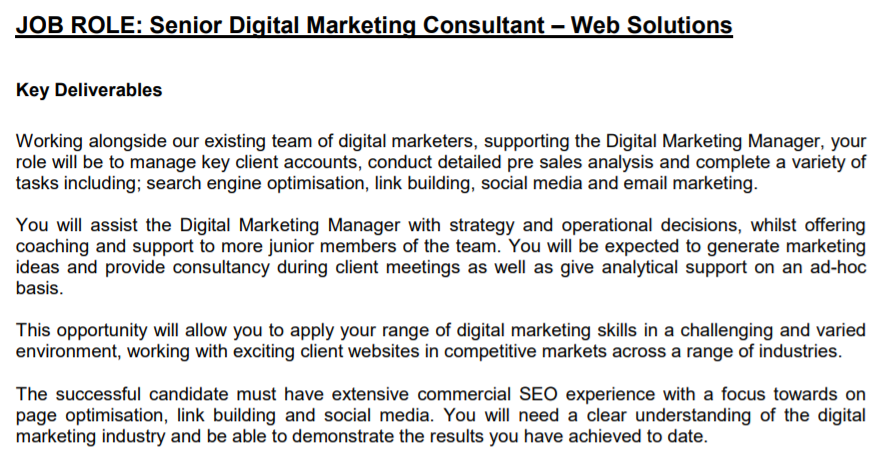 Senior Digital Marketing Consultant Job Description