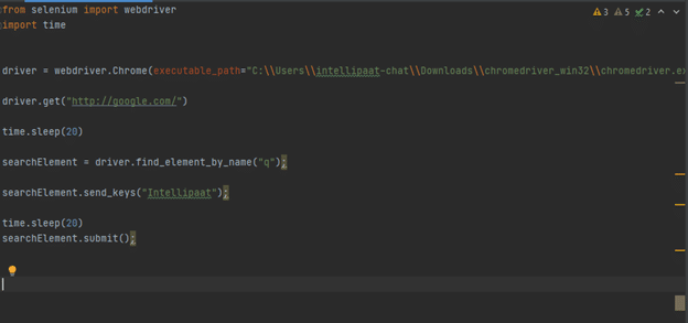 Test script to be executed on PyCharm