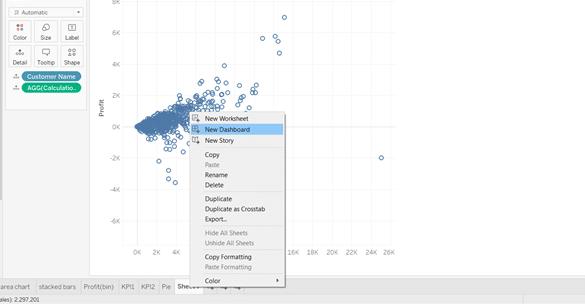 Tableau scatter plot KPI