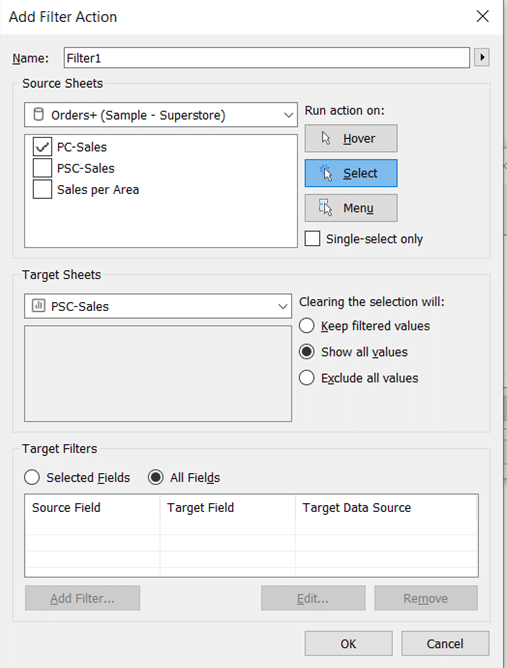 Action Filters in Tableau