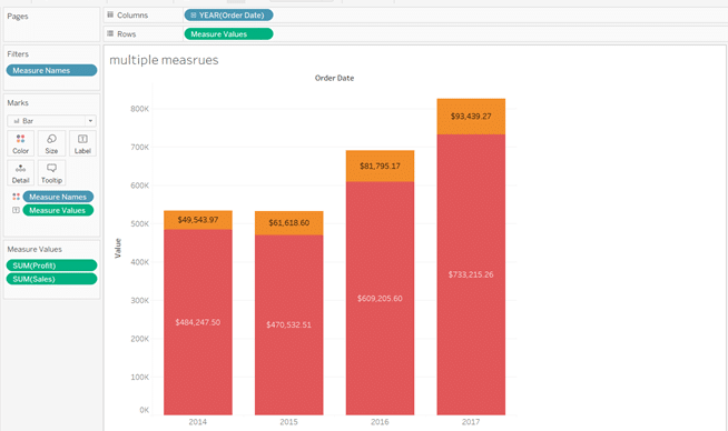 Tableau Stacked bar chart