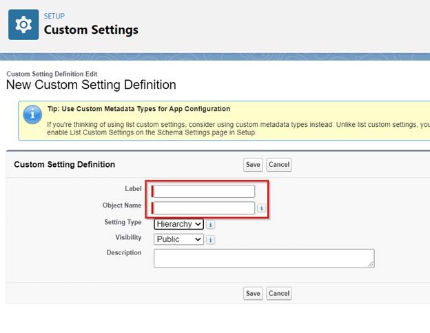 Custom Settings step 2