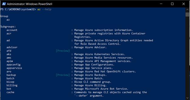Azure CLI Help Command
