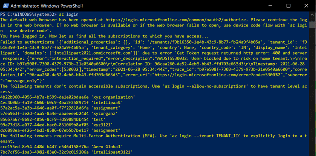 Azure Login on CLI