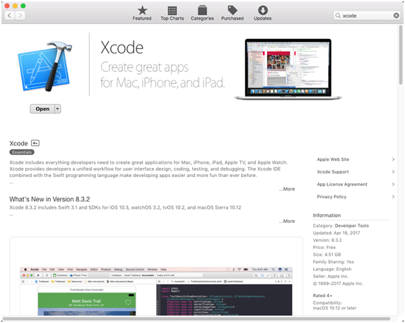 Xcode download window from the App Store