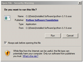 Run executable downloaded Python file