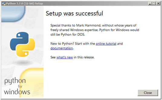 Step 4: Python setup successful pop-up