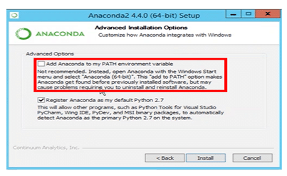 Step 4: Anaconda advance installation window pop-up