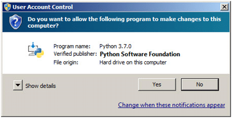 Step 2: Python User Account Control pop-up window