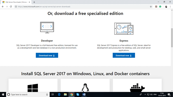 Installing SQL Server 2017 for Microsoft